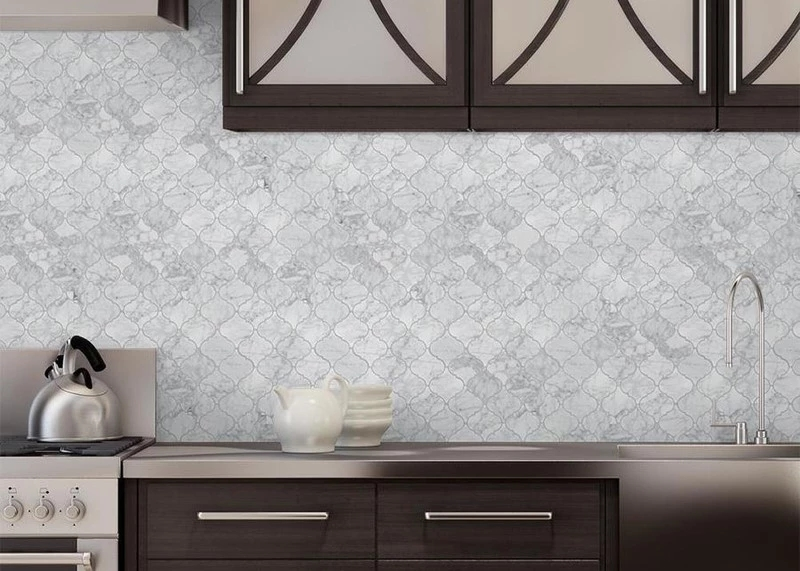 Marble Mosaic Backsplash Application