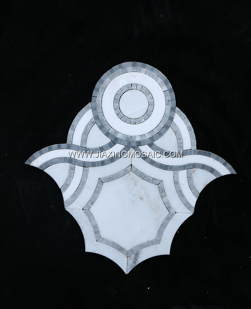 Carrara White Marble & Italy Grey Waterjet Mosaic (JX-WJ026)