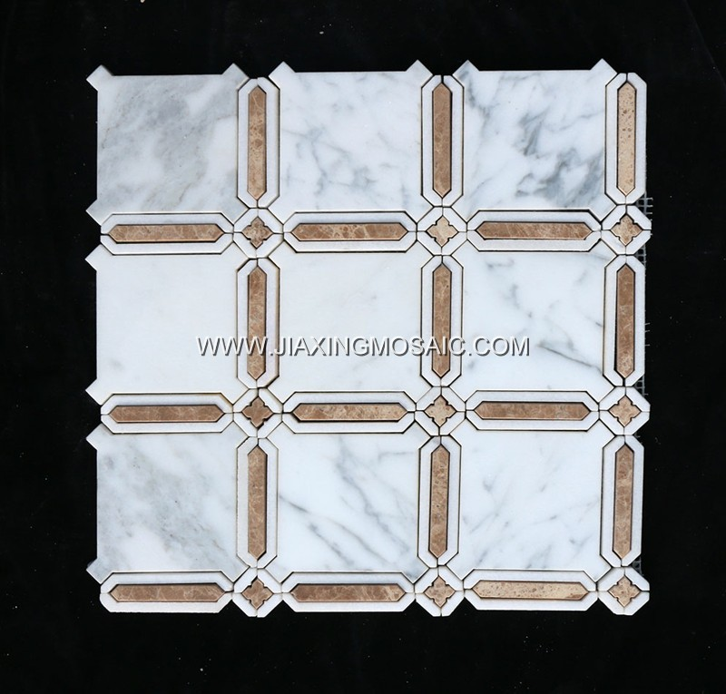Carrara White Marble & Light Emperador Waterjet Mosaic (JX-BC-WJ038)