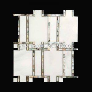 Black Lip Shell + Oriental White(White) Waterjet Mosaic (JX-EW-WJ007)