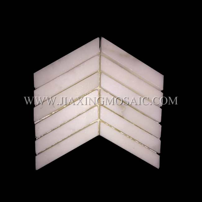 Calacatta White Marble Chevron Mosaic