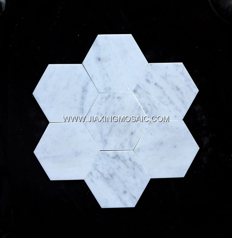Bianco Carrara Marble 150mm Hexagon Mosaic
