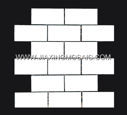 "Thasso White Marble Mosaic 2 x 4 "" Brick Marble Mosaic Tile"