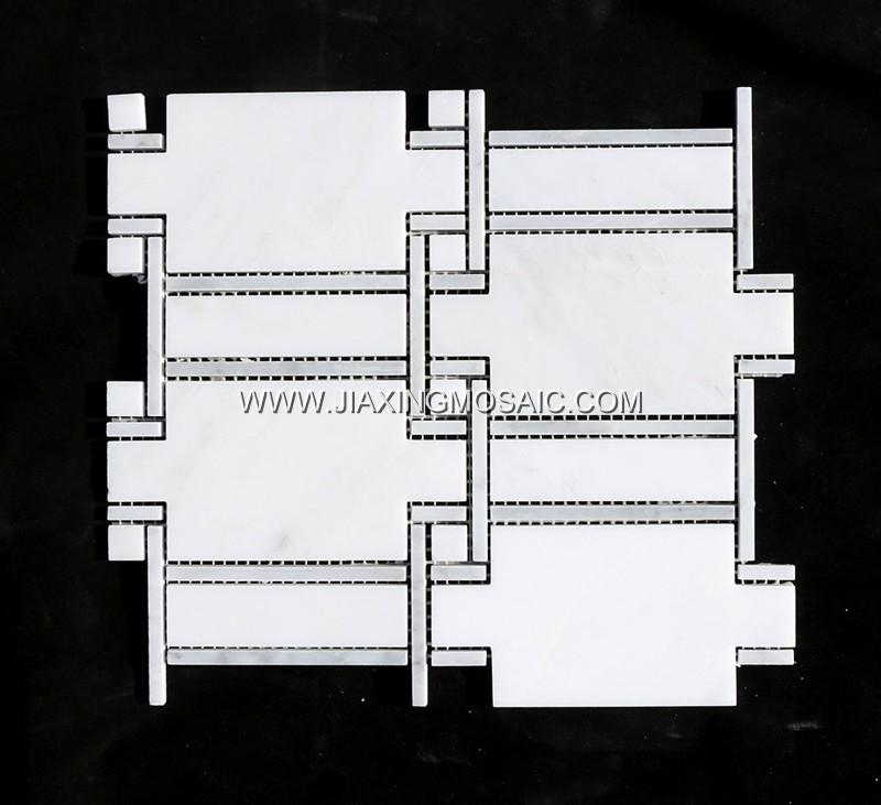 Oriental White (White + Grey) Waterjet Mosaic (JX-EW-WJ019)