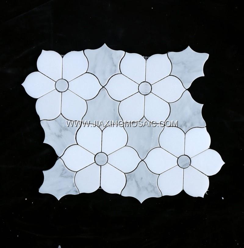 Oriental White (White + Grey) Flower Waterjet Mosaic (JX-EW-WJ006)