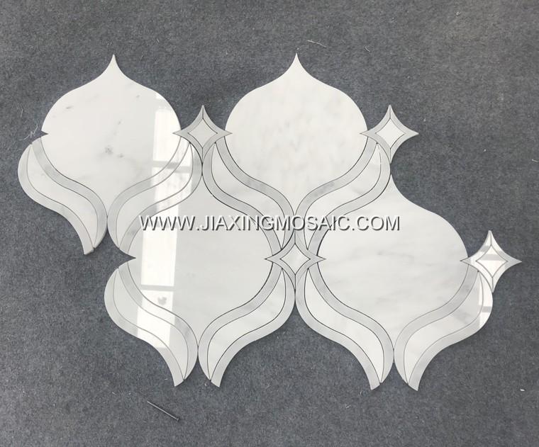 Oriental White Marble Waterjet Mosaic (JX-EW-WJ005)
