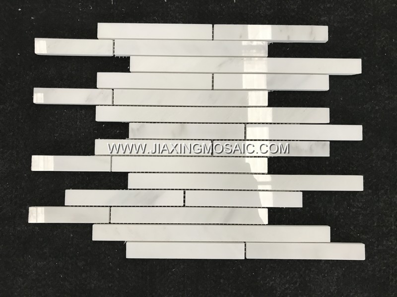 Eastern White Linear Stripe Polished Marble Mosaic Tiles