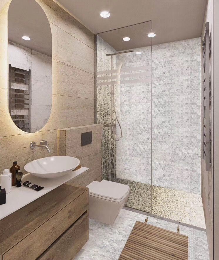 Bathroom Shower Spas using stone mosaic