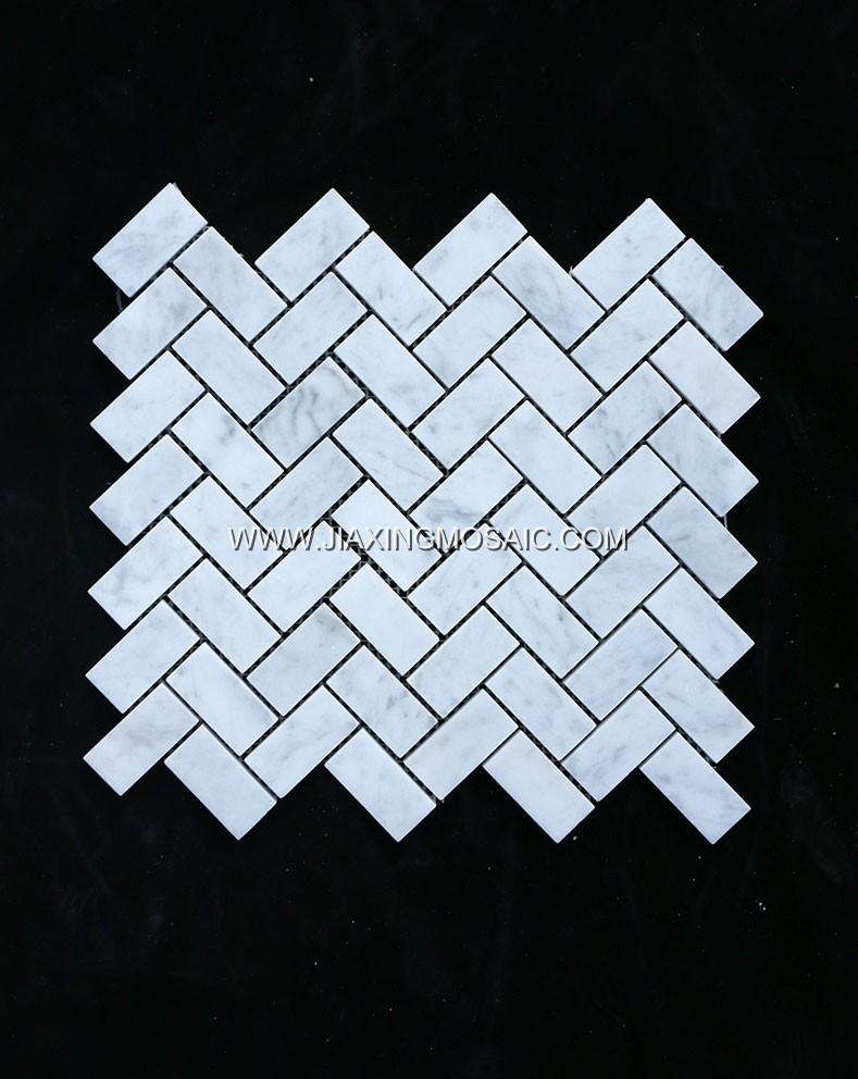 Carrara White Polished Marble Herringbone Design Marble Mosaic Tiles