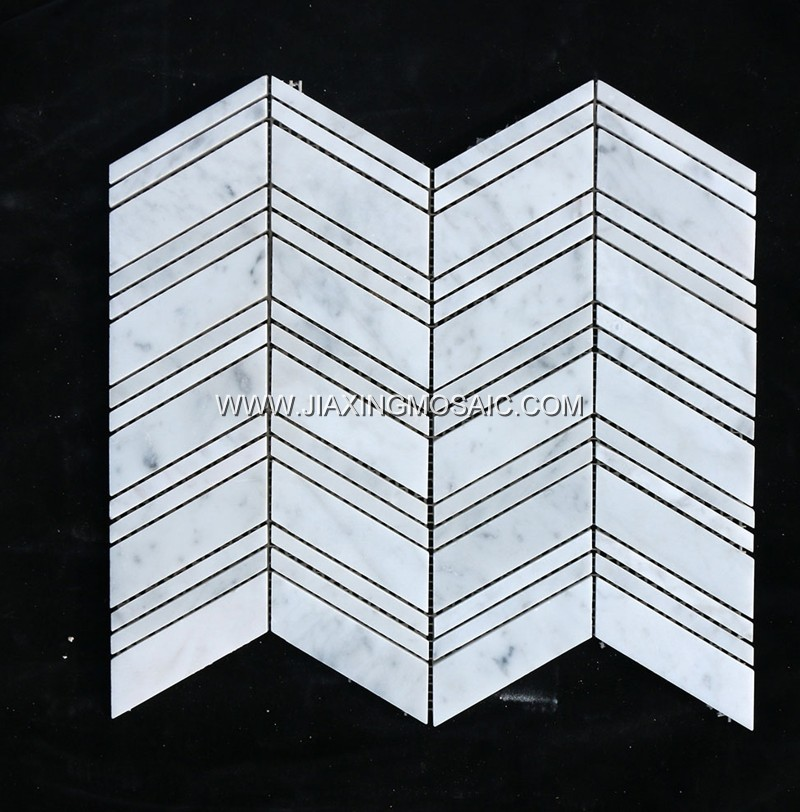 Bianco Carrara White Marble Chevron Mosaic