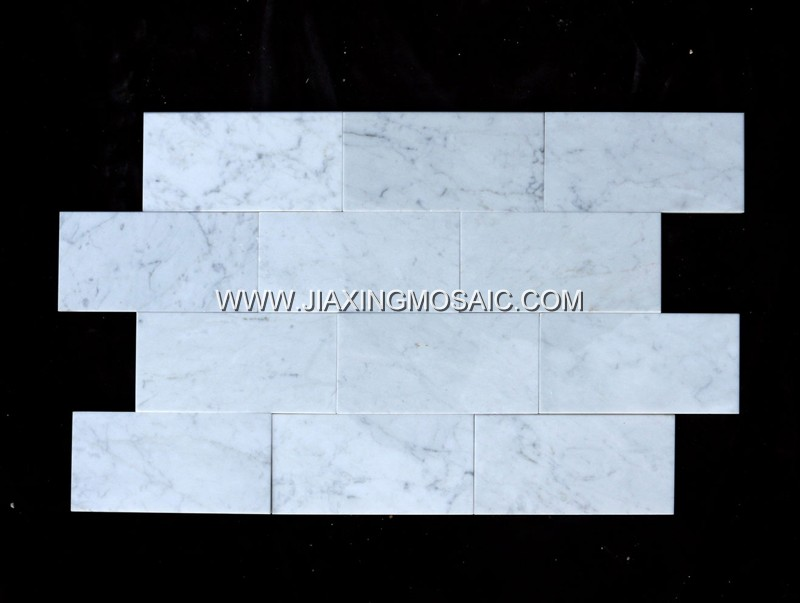 "Carrara White Polished Marble Mosaic 3 x 6 "" Brick Marble Mosaic Tile"