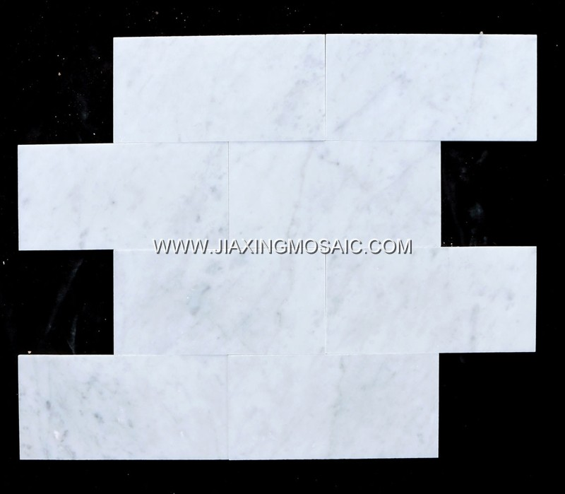"Carrara White Polished Marble Mosaic 4 x 8 "" Brick Marble Mosaic Tile"