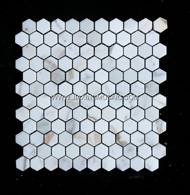 Calacatta Gold Hexagon for indoor Marble Mosaic tiles