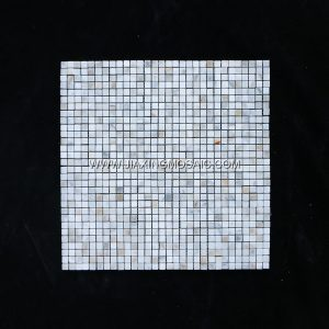 Calacatta White Polished Marble Square 1 x 1'' Art Design Marble Mosaic Tiles