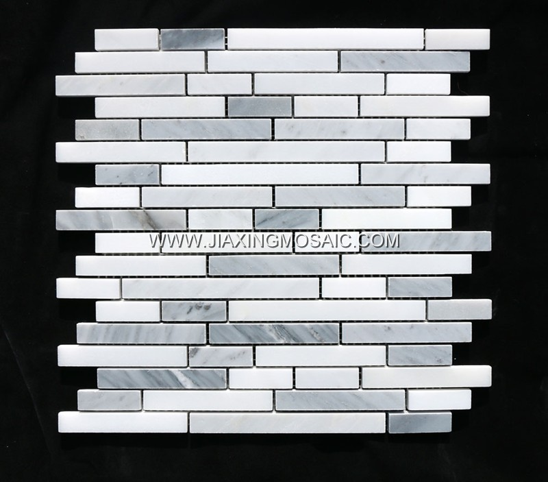Oriental White Linear Stripe Polished Marble Mosaic Tiles