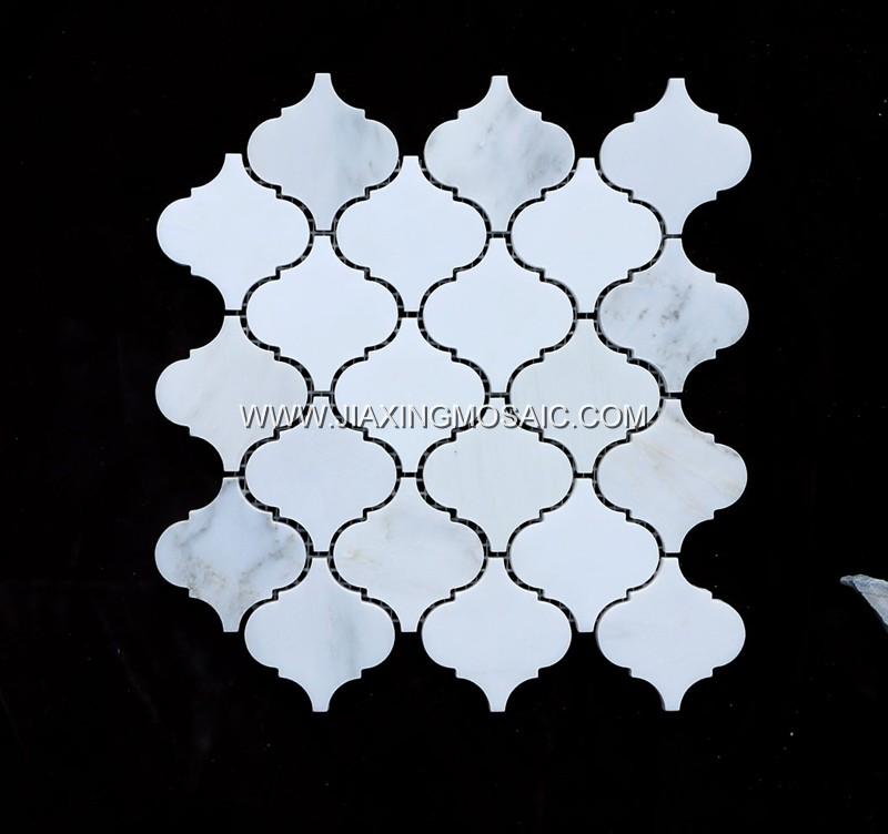 Eastern White Arabescato Mosaic Lantern Tile