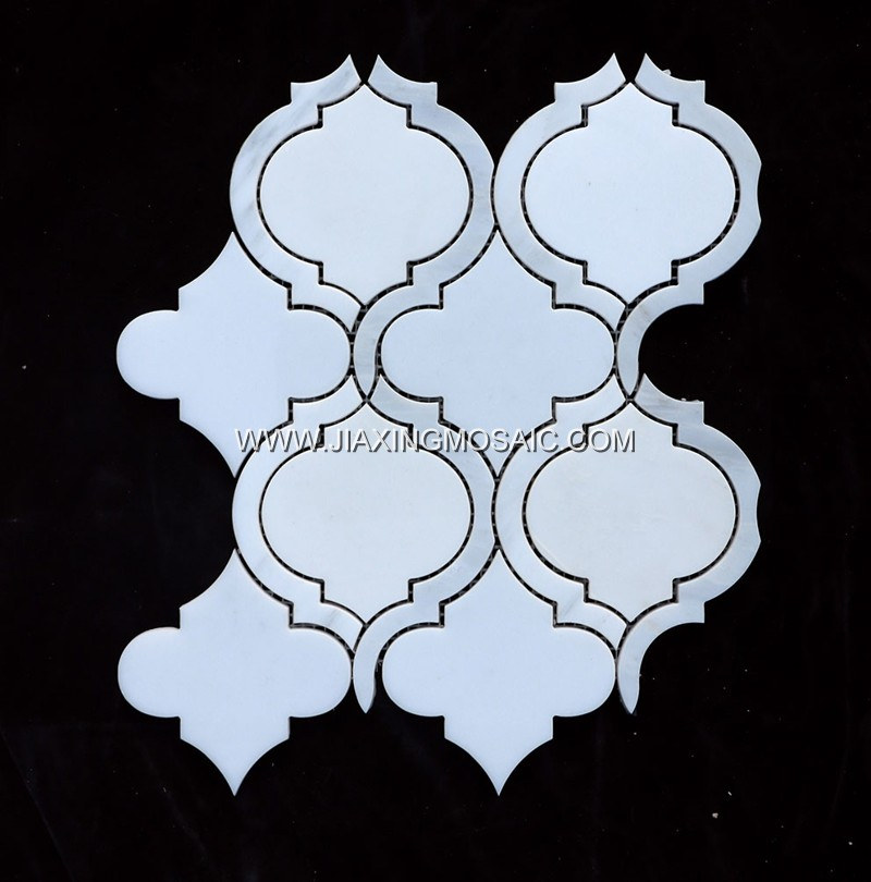 Waterjet Eastern White Arabesque Mosaic Lantern Tile