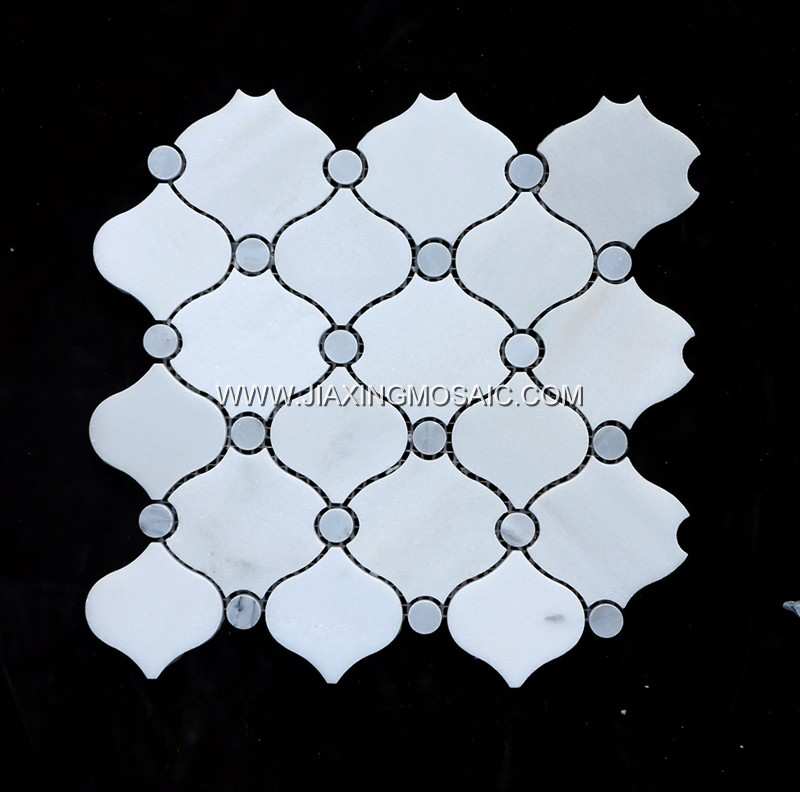 New Design Eastern White Arabescato Mosaic Lantern Tile