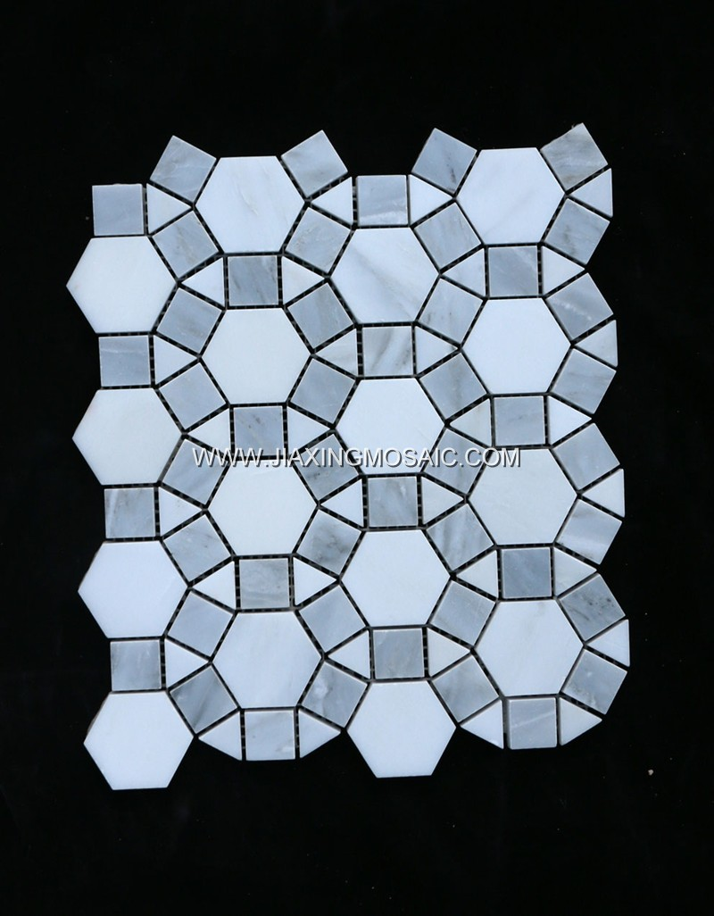 Eastern White Polished Football Design Marble Circular Mosaic Tiles