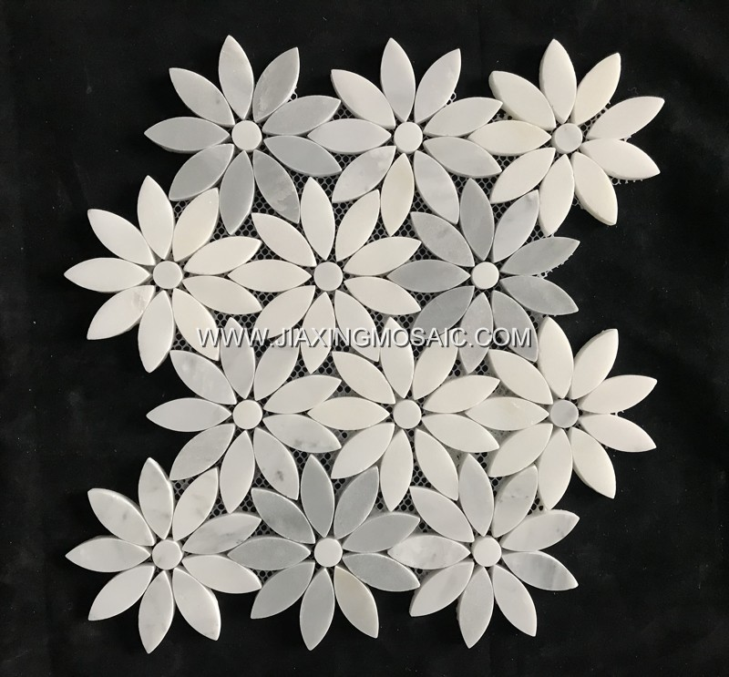 Eastern White Marble Polished Flower Shape Marble Mosaic Tile