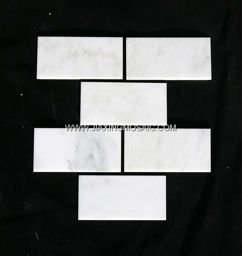 "Eastern White Honed Marble Mosaic 3 x 6 "" Brick Marble Mosaic Tile"