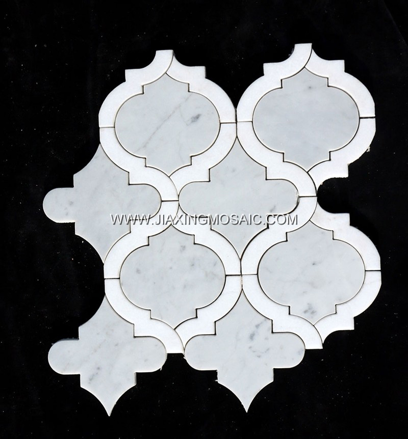 Waterjet Carrara White Arabesque Mosaic (JX-WJ069)