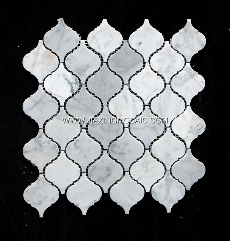 Carrara White Polished Marble Arabasque/Lantern Marble Mosaic Tiles