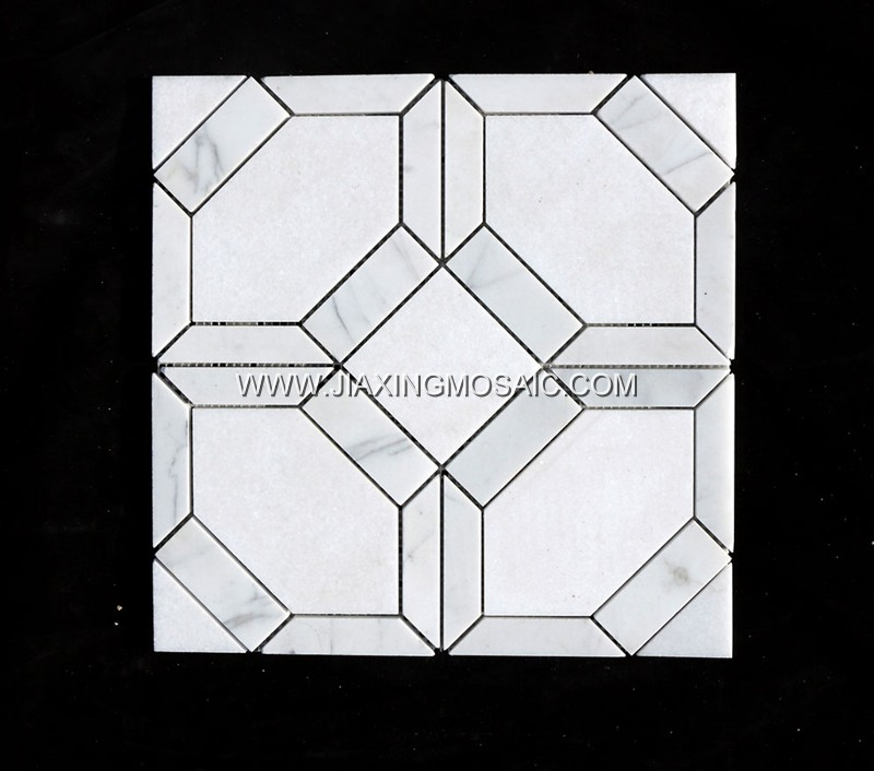 New design popular mosaic Carrara and Thassos marble mosaic