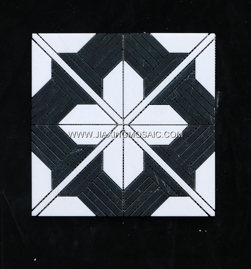 New design hotsale mosaic Thassos white and Nero marquina marble mosaic