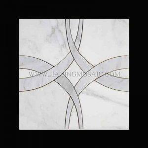 Oriental White Marble Waterjet Mosaic (JX-EW-WJ014)