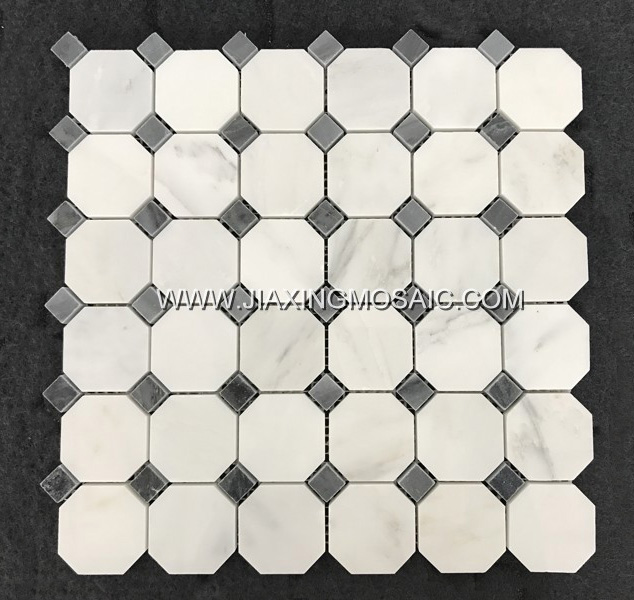 Eastern White Polished Marble Octagon Design Mosaic Tiles