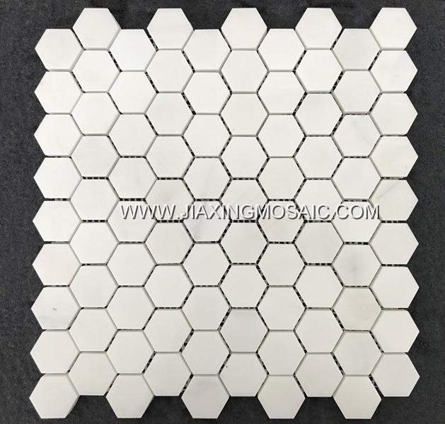 Eastern White Hexagon Polished Marble Mosaic Tile