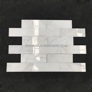 "Eastern White Polished Marble Mosaic 3 x 6 "" Brick Marble Mosaic Tile"