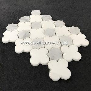 New Design Eastern White Flower Marble Mosaic Tile