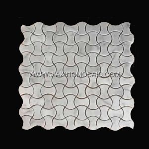 Carrara White Dogbone Shaped Marble Mosaic Tiles
