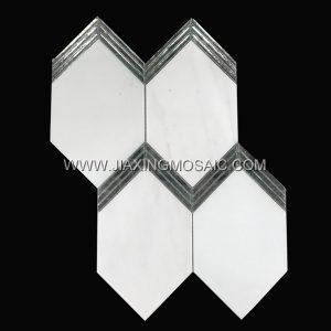 Eastern White Hexagon Polished Marble Glass Mosaic Tile