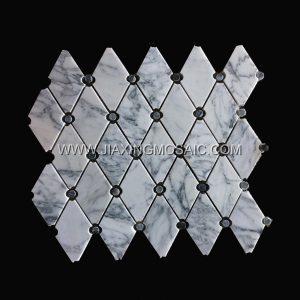 Carrara White Rhomboid Long Octagon Tile Polished Mosaic