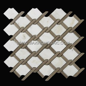 Glorious White Water jet Polished Marble Mosaic Tiles