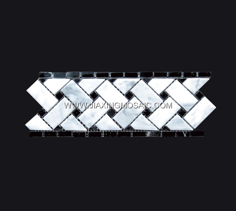 Carrara White Marble Boder Mosaic Tile