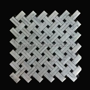 New Design Bianco Carrara White Marble Basketwave Mosaic