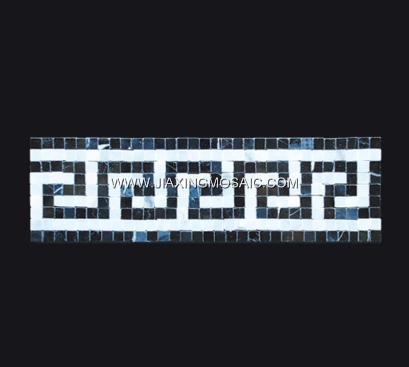 Carrara White Marble Border Nero Marquina Marble Mosaic Tile