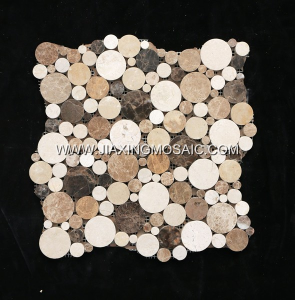 Crema Marfil Bubble Round Emperador Marble Mosaic Tile