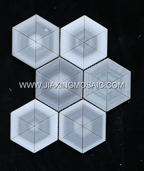 Marmara White Marble Polished Triangle Shaped Mosaic Tiles