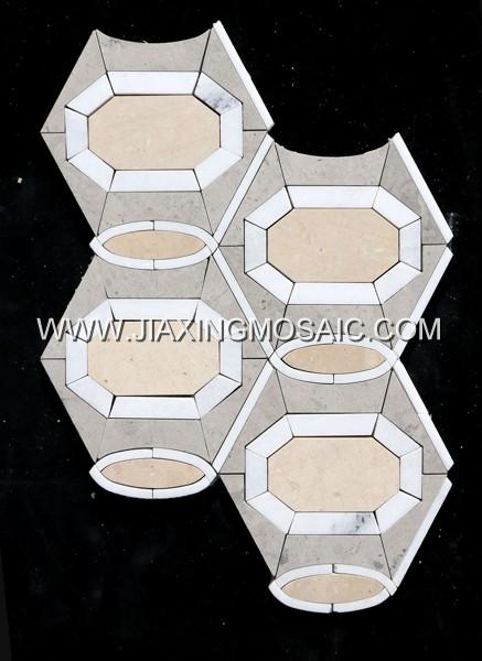 Tunisia Grey Marble Octagon Waterjet Mosaic (JX-WJ056)