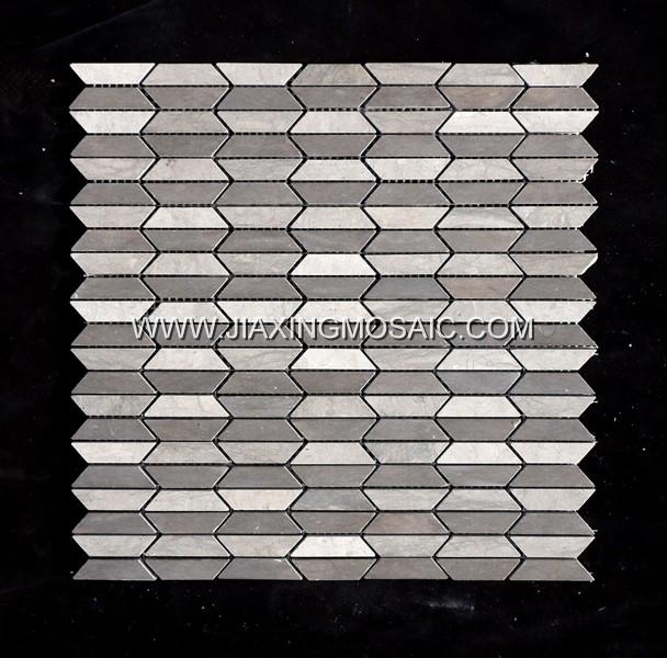 Tunisia Grey Polygon Marble Mosaic Tiles