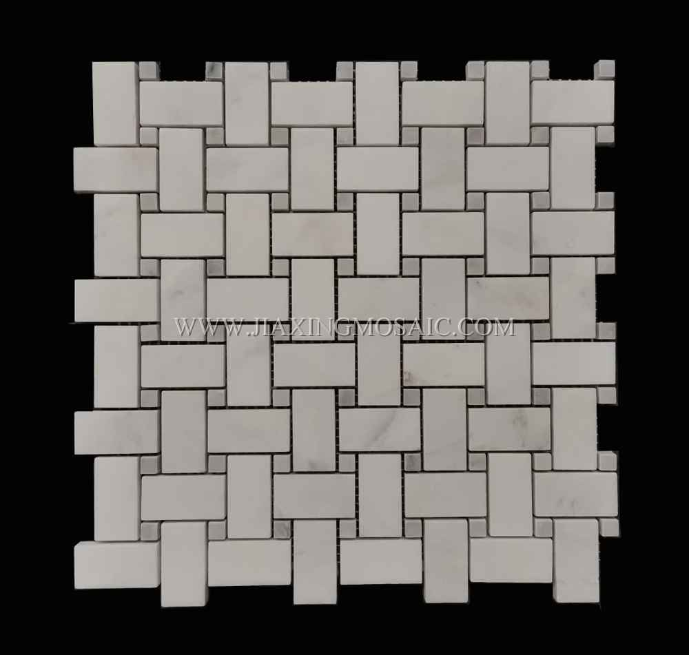 Art Patterns Mosaic Eastern White Marble Polished Basketwave Mosaic tiles