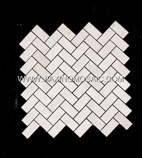 Crema Marfil Polished Marble Herringbone Mosaic Tiles