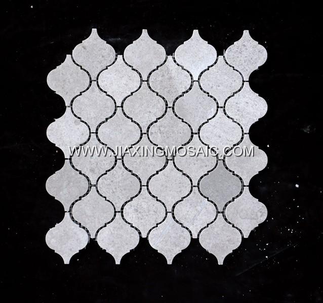 Cicili Grey Polished Marble Arabasque/Lantern Marble Mosaic