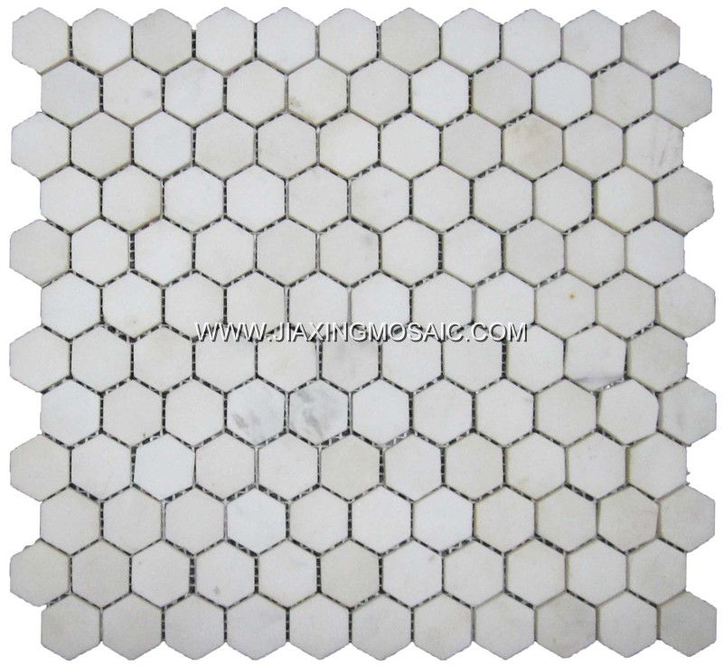 Ariston 1 inch hexagon polished marble mosaic