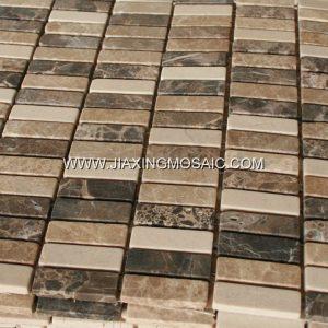 Emperador Stripe Polished Marble Mosaic Tiles